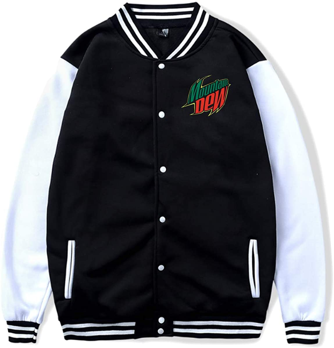 Mountain Dew Baseball Uniform Front Pockets On Both Sides Cuffs Hem and Neckline Contrast Thread Jacket Sport Coat