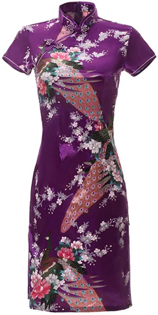 Shanghai Story Short Sleeve Peacock Print Short Qipao Faux Silk Cheongsam 8 Color