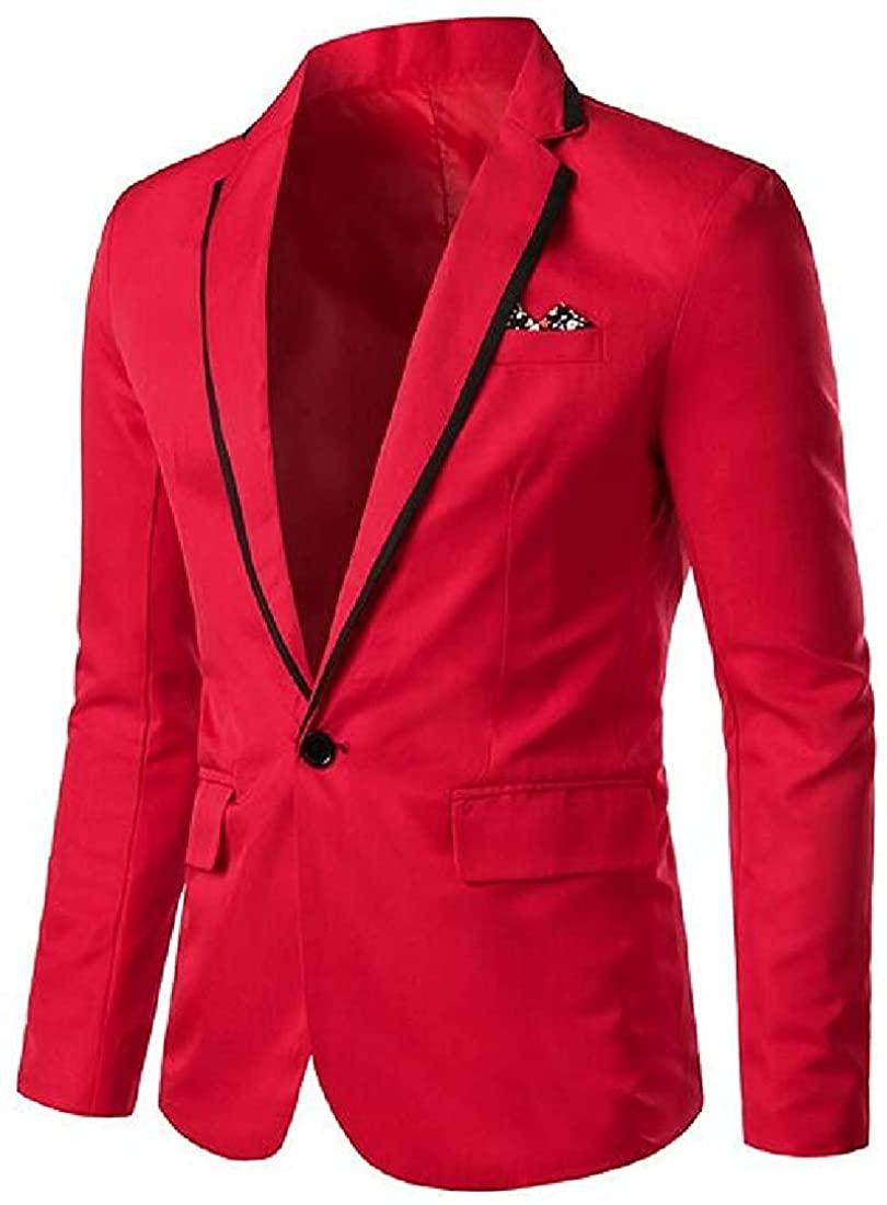 Men Business One Button Casual Long Sleeve Suit Blazer Coat Jacket