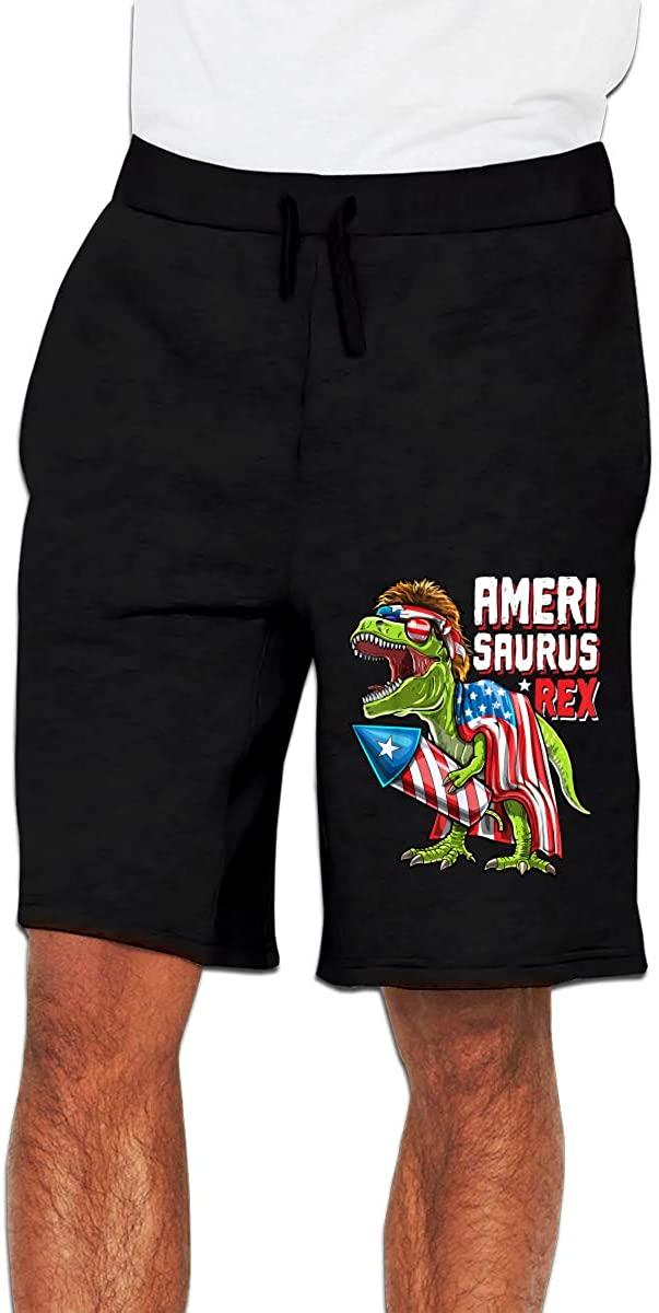 Amerisaurus T Rex Mens Casual Shorts Workout Fashion Comfy Shorts Breathable Big and Tall Shorts