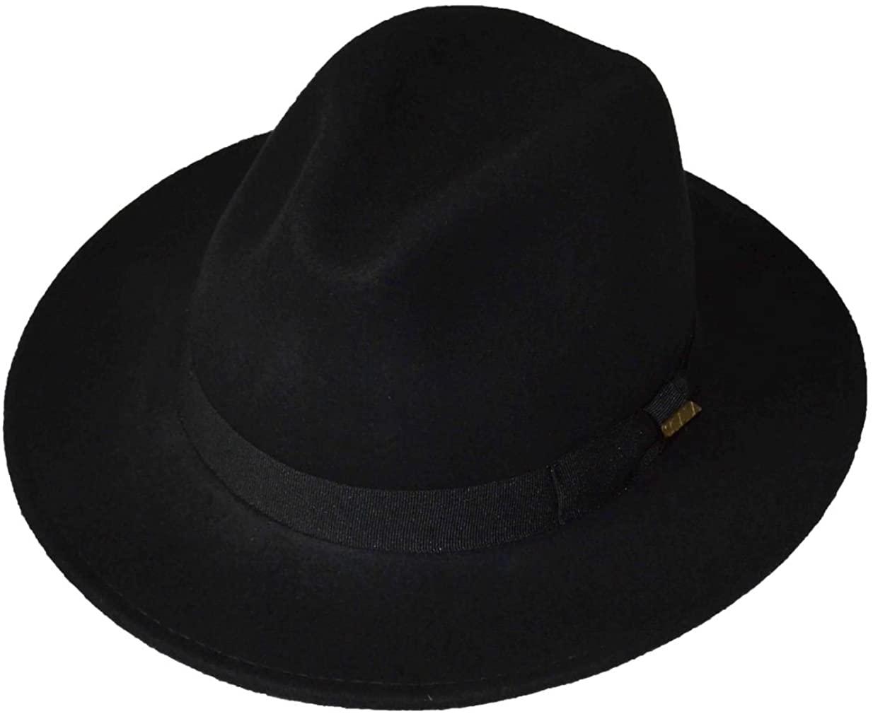 Scala Mens Safaris Shape 100% Wool Felt Fedora Black