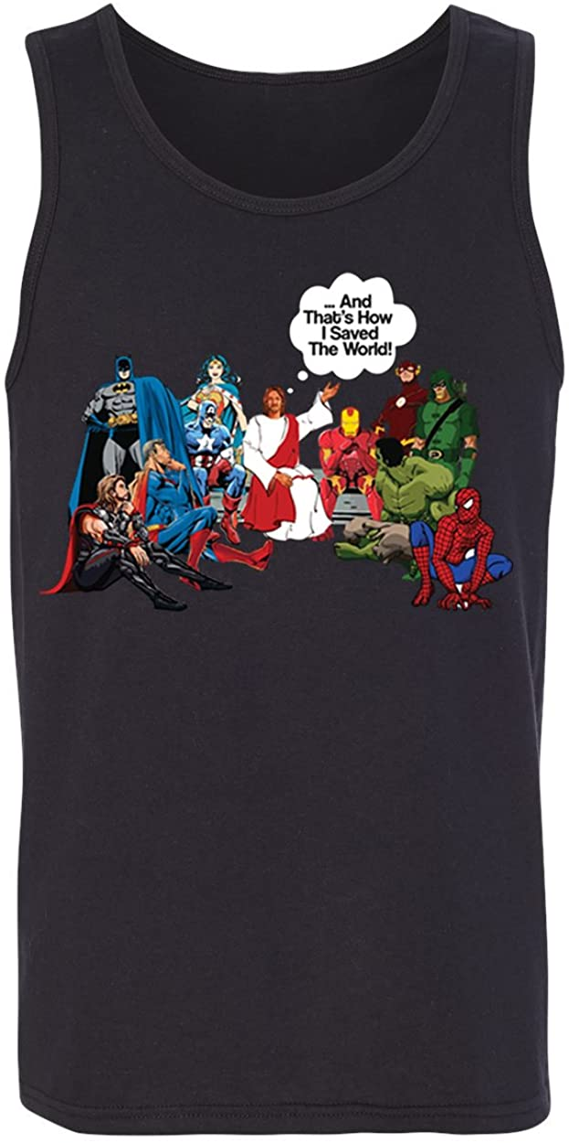 KING THREADS Jesus and Superheroes That's How I Saved The World Christian Funny Tank Top