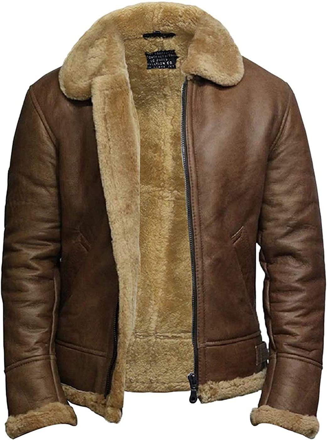 BRANDSLOCK Mens Genuine Shearling Sheepskin Leather Ricardo Jacket
