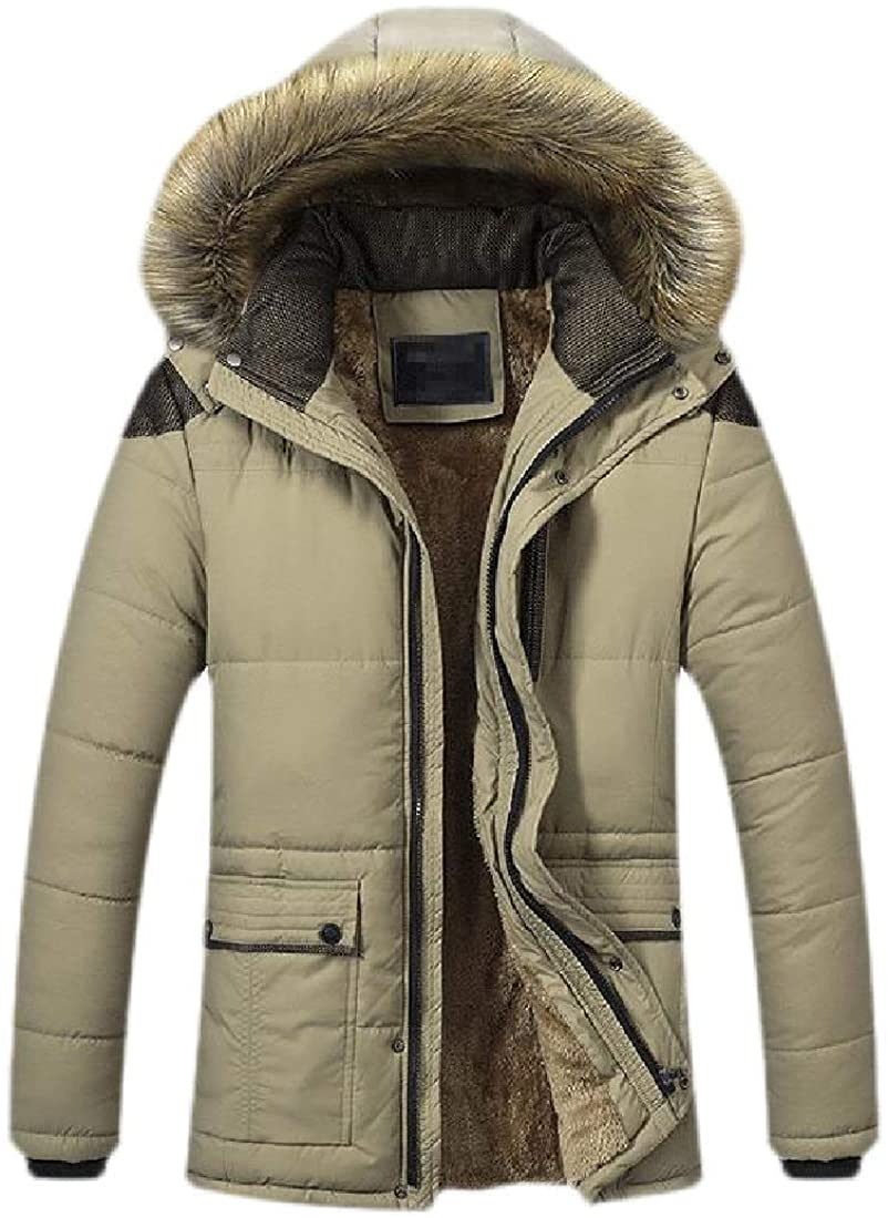 Qhghdgysd Mens Hooded Faux Fur Winter Fleece Lined Outdoor Stand Collar Down Jackets