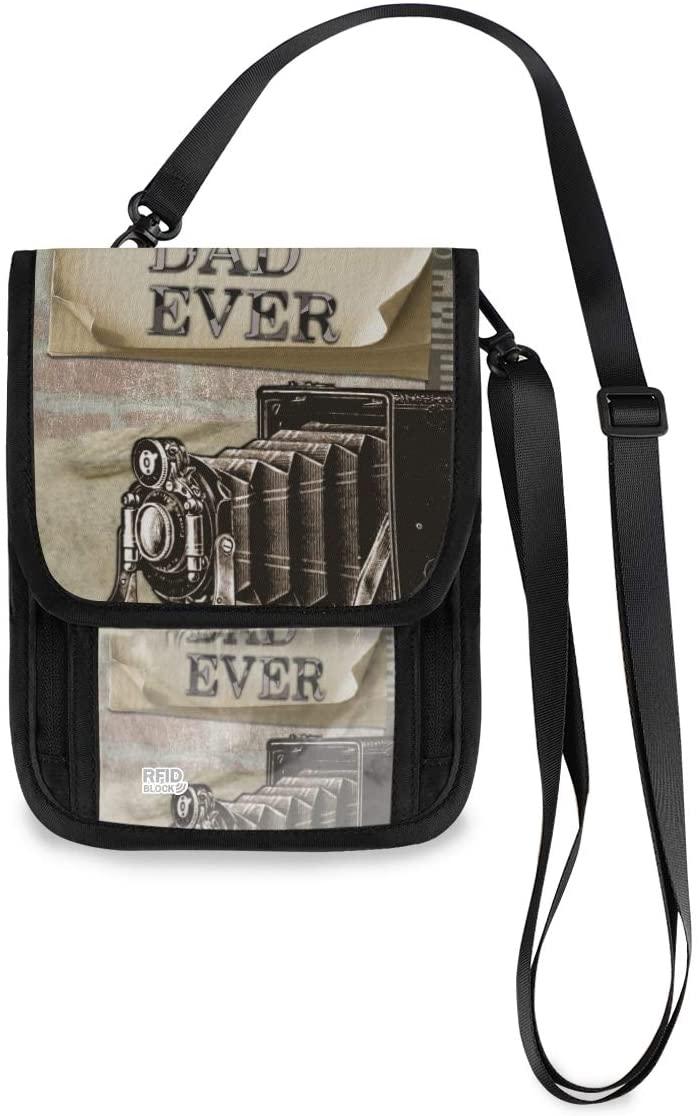Travel Neck Wallet Best Dad Ever Card Greeting Passport Holder Organized Travel Neck Pouch Crossbody Phone Bag for Women Men
