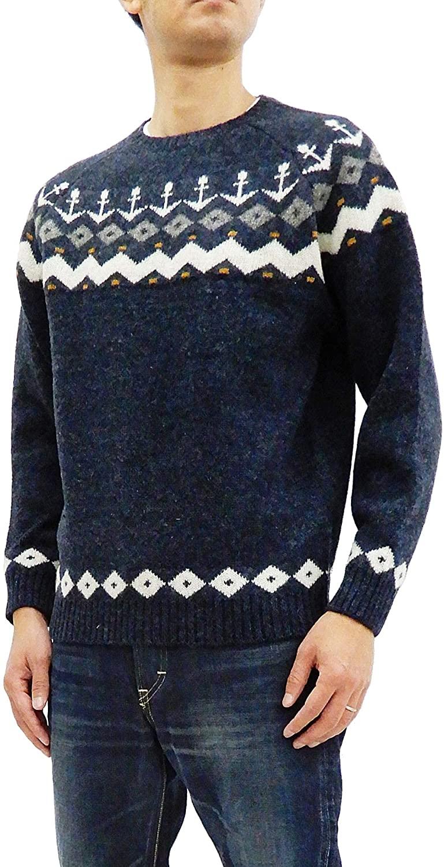 Pherrow's Men's Wool Knit Sweater Nordic Snow Pattern Pullover Crew 18W-PSFS1