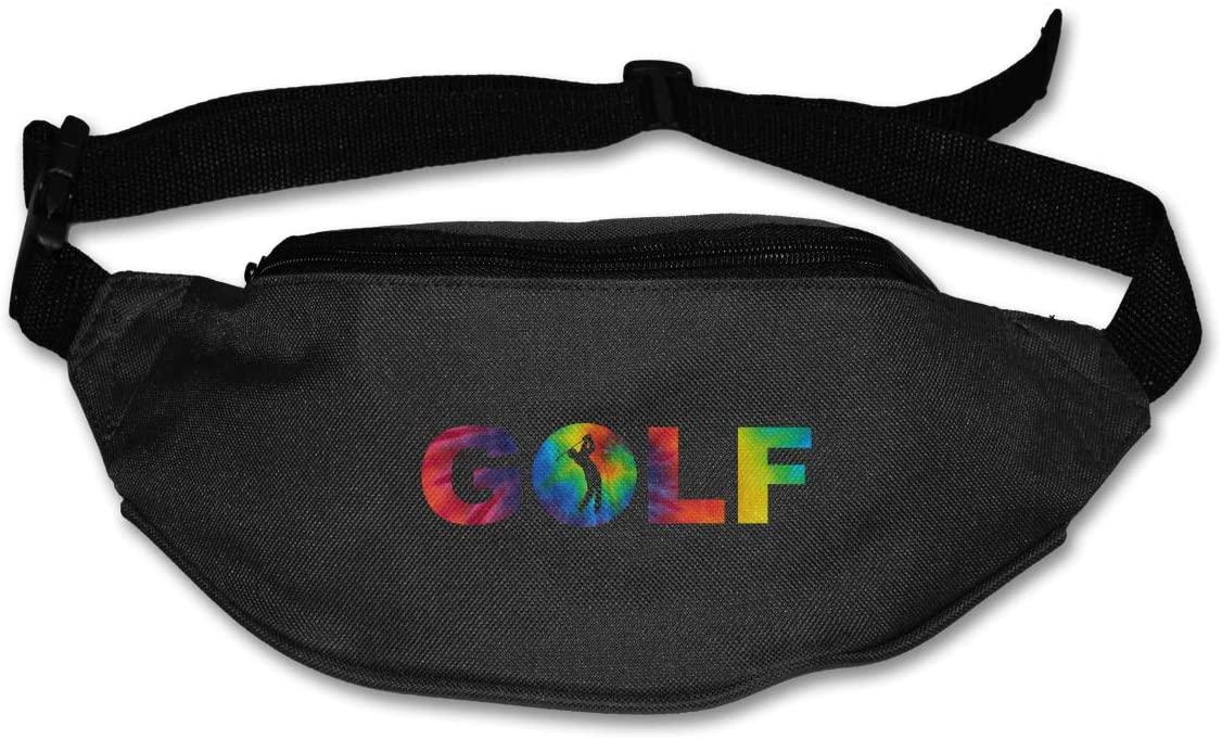 SWEET-YZ Unisex Waist Pack Tie Dye Golf Flat Fanny Bag Pack for Sport Running