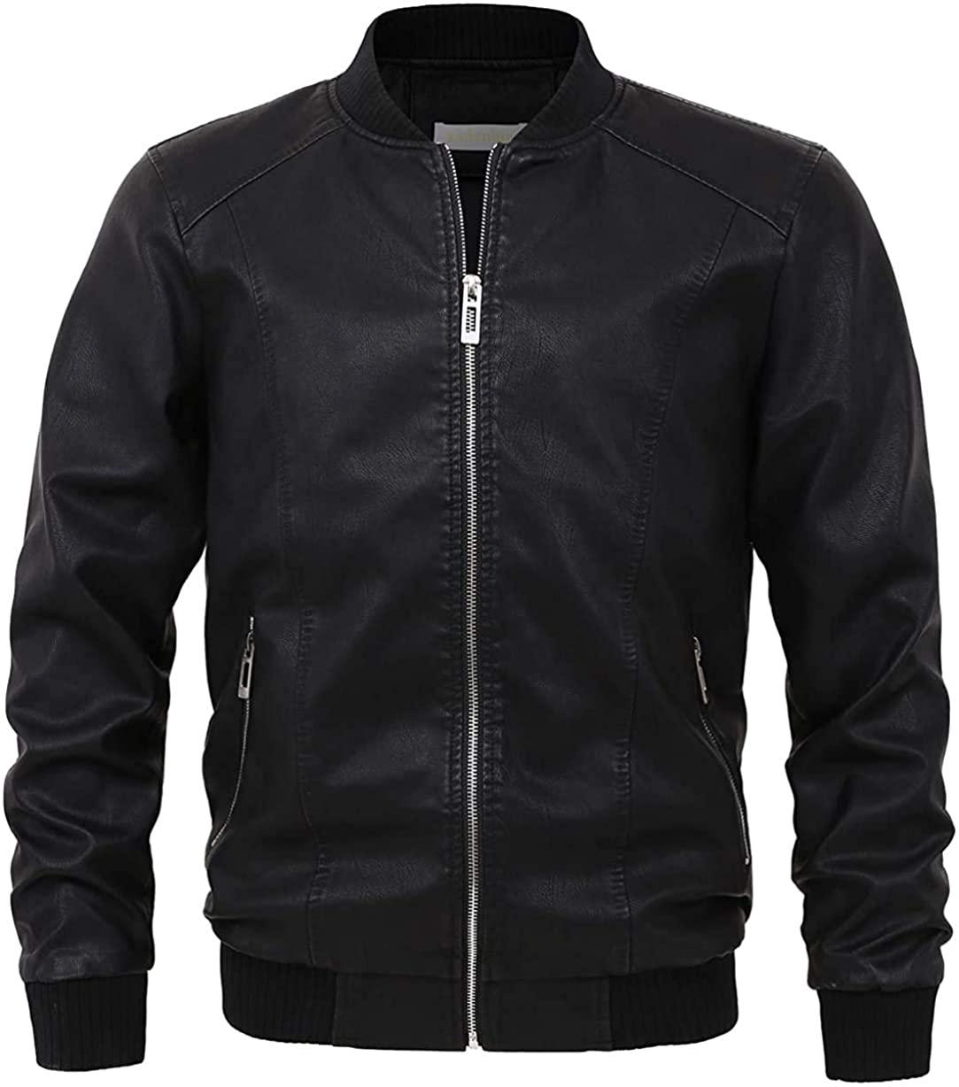 Men's Essential Sports Zip Lightweight Pu Leather Varsity Bomber Jacket,Black,Large
