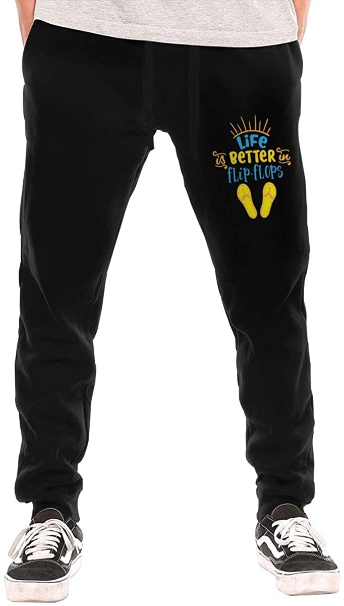 Life is Better in Flip Flops Men's Casual Joggers Pants Trousers Sweatpants with Drawstring
