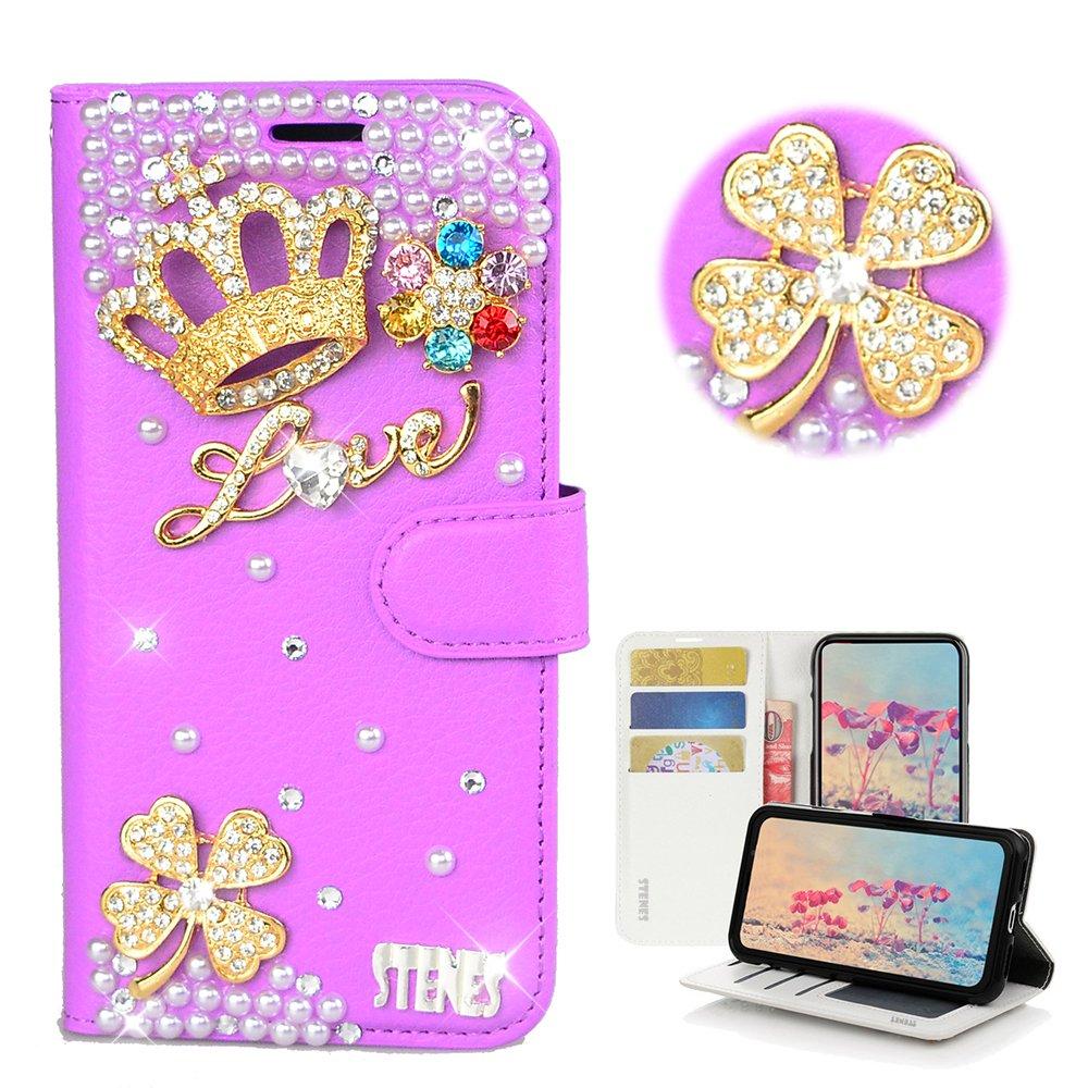 STENES Bling Wallet Case Compatible LG K40 / LG K12 Plus - STYLISH - 3D Handmade Crystal Clover Crown Flowers Design Magnetic Wallet Leather Cover Compatible LG K40 / LG K12 Plus - Purple