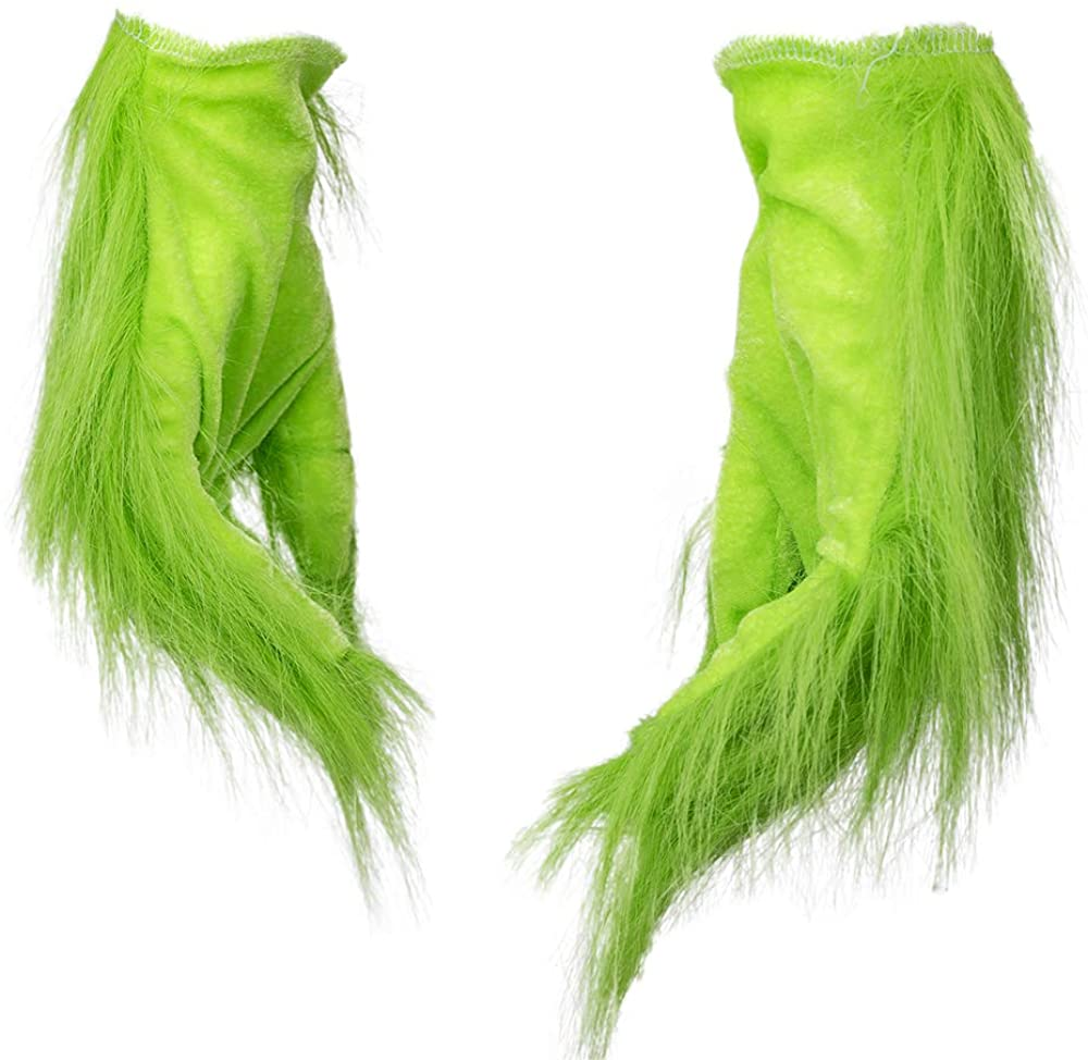 Green Furry Gloves Pants Hoodie Halloween Cosplay Costume Accessory Xmas Gifts