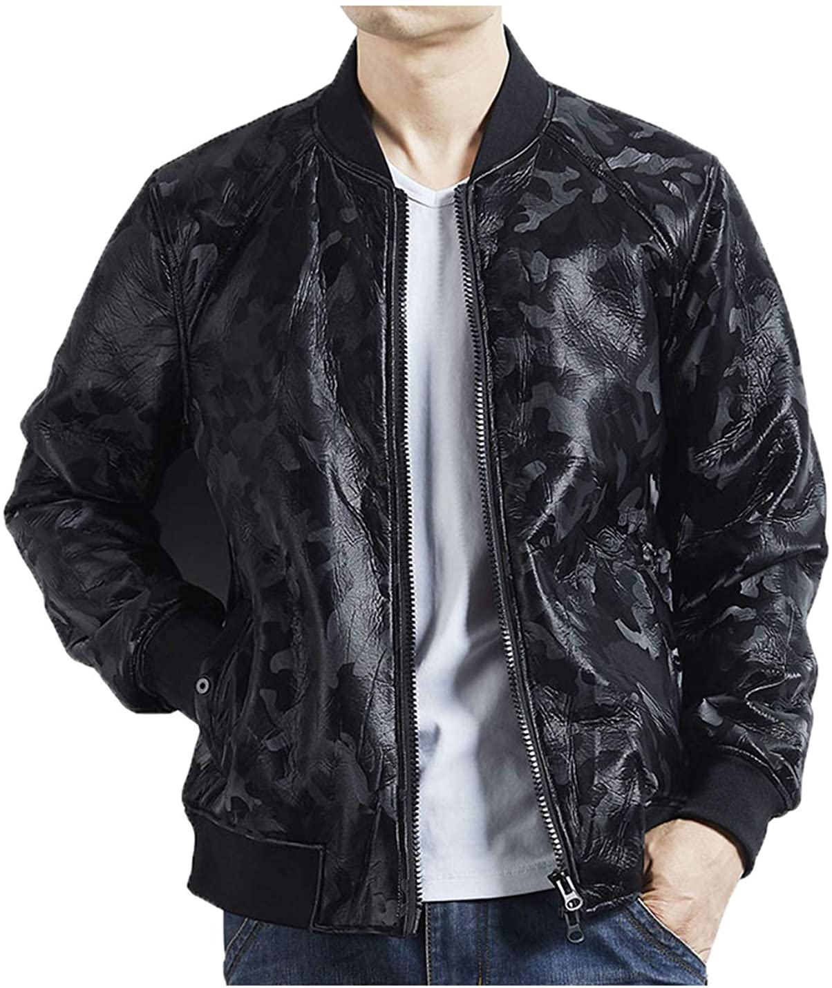 PAODIKUAI Men's Olive Camo Print Black Faux Leather Bomber Jacket Sports Zip Jacket