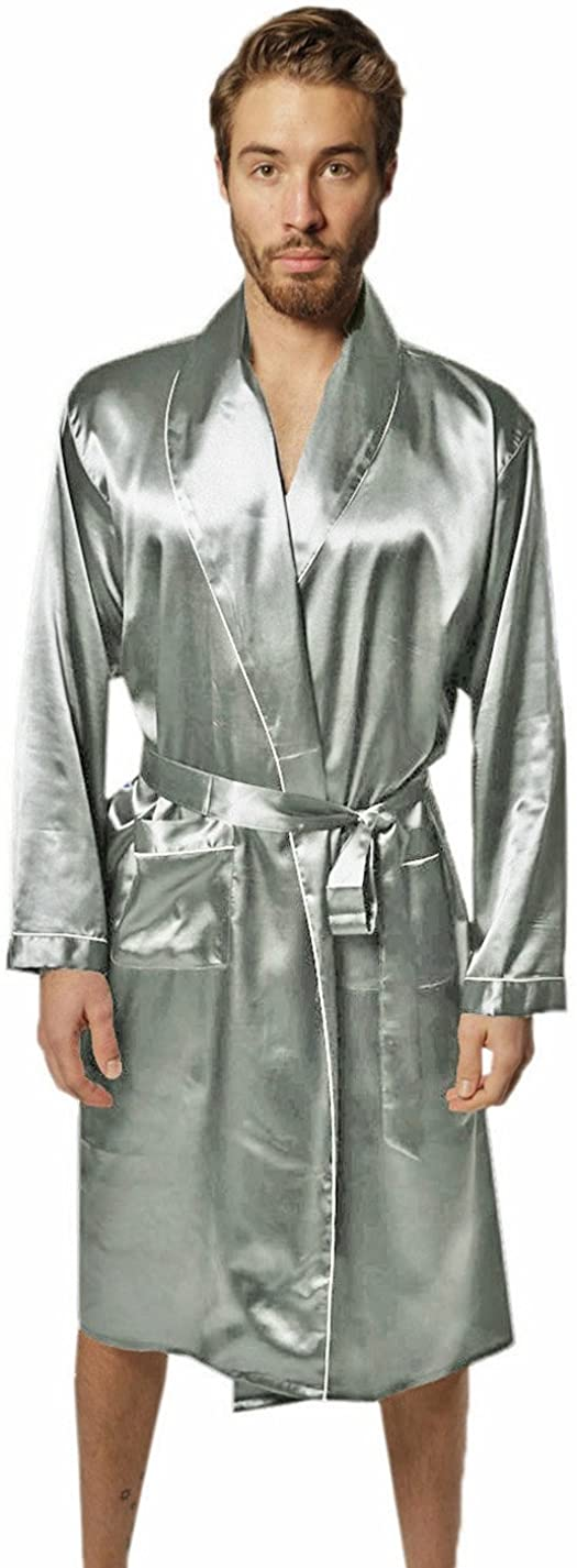 SILK MODA - Mens Premium Long Lounge, Pajama Robe/Bathrobe M Silver