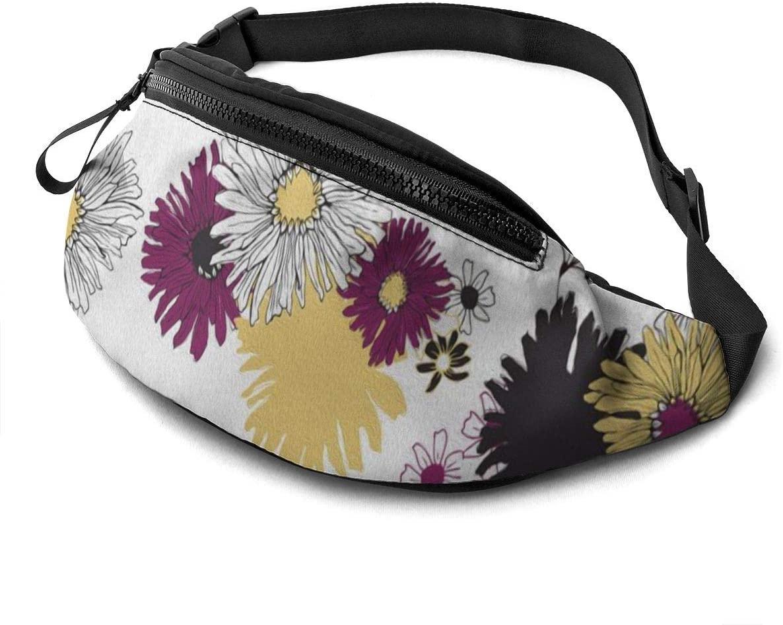 Sun flower Fanny Pack for Men Women Waist Pack Bag with Headphone Jack and Zipper Pockets Adjustable Straps