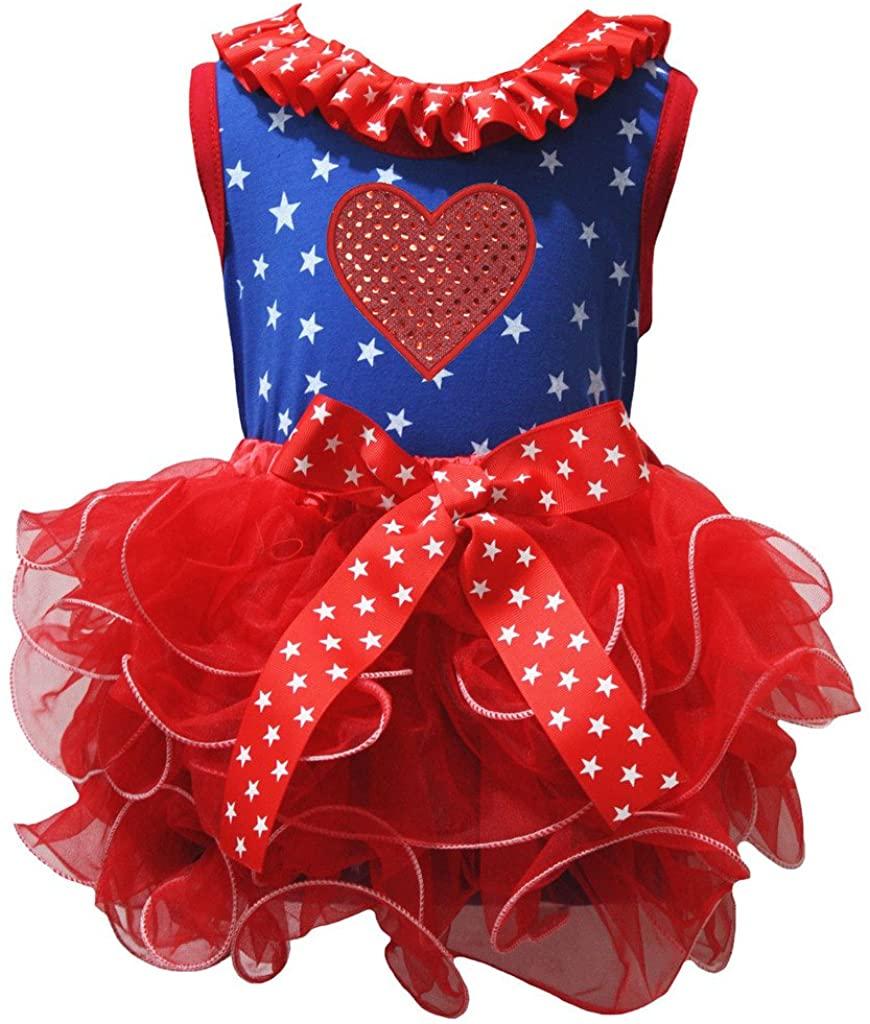 Petitebella Sequins Heart Stars Blue Shirt Red Petal Skirt Set Nb-8y