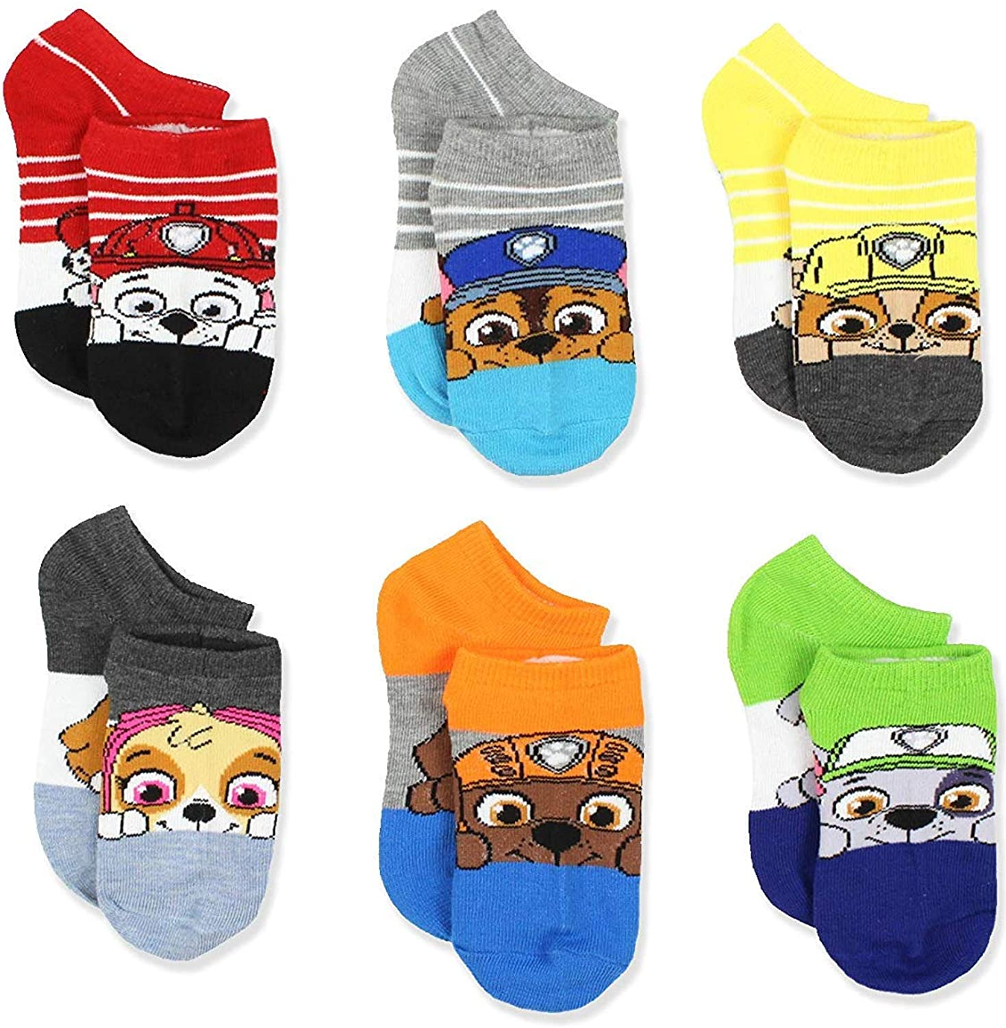 Nickelodeon Little Boy's Paw Patrol 6-Pack Character No Show Socks, Kids Shoe Size 10-4