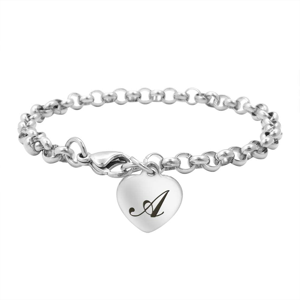 Kumshunie Stainless Steel Heart Initial Bracelet for Women Men 26 Letter Charms