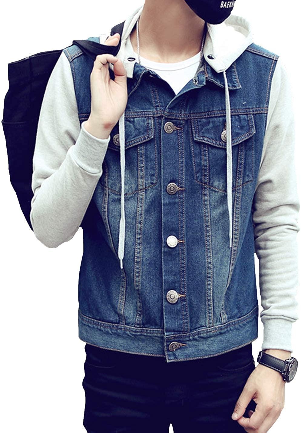 D.B.M Men's Autumn Long Sleeve Large Size Detachable Hooded Denim Jacket
