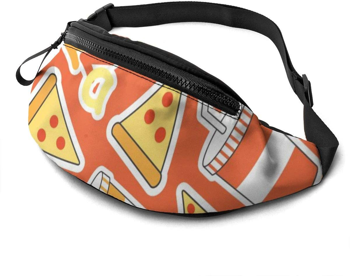 Pizza Food Pattern Fanny Pack For Men Women Waist Pack Bag With Headphone Jack And Zipper Pockets Adjustable Straps