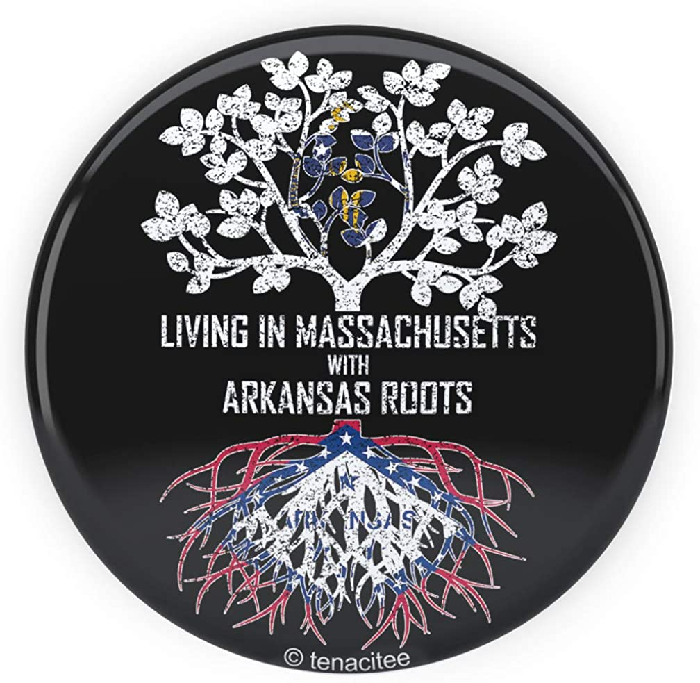 Tenacitee Living In Massachusetts with Arkansas Roots Pinback Button