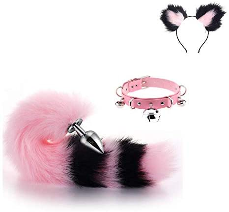 Black&Pink Stainless Steel Metal Furry Fox Tail Bü-tt Plùg, Plush Fox Ear Headband and Pink Leather Collar with Ring The Set for Cosplay Costume and Party - M