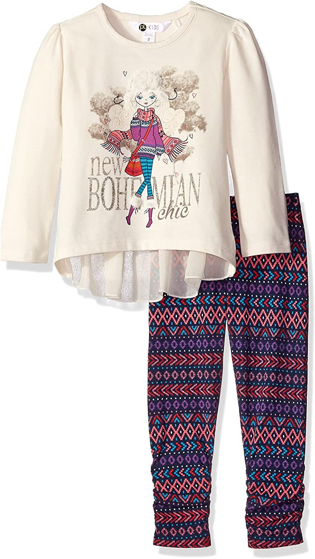 Petit Lem Girls' Northern Bohemian Princess 2 Piece Set Tunic and Legging Knit