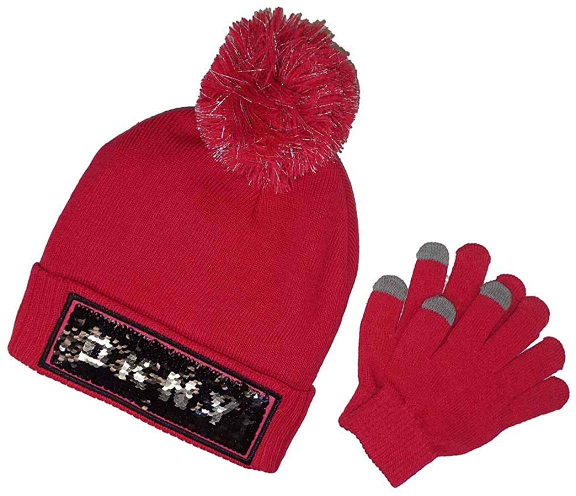 DKNY Girls' Flip Sequin Knit Hat with Tech Touch Gloves Set