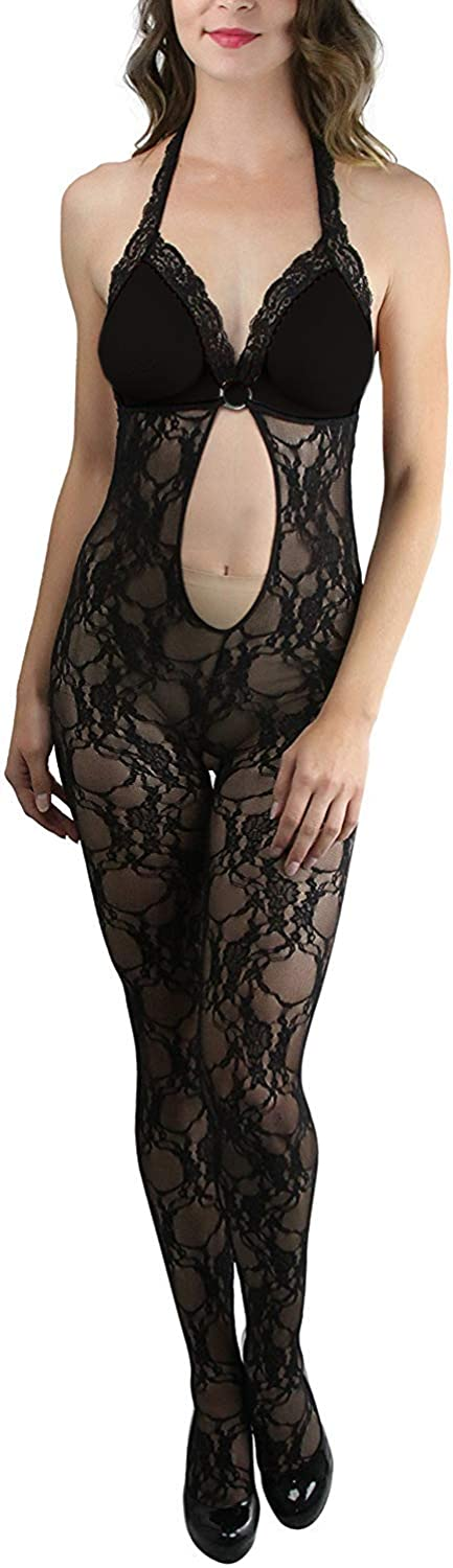 ToBeInStyle Womens Peek-A-Boo and Keyhole Crotchless Lace Bodystocking