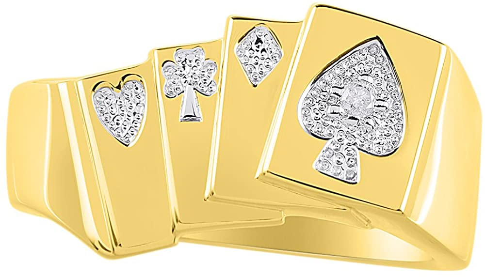 Diamond Ring Lucky Pinky Ring Sterling Silver or Yellow Gold Plated Silver - Poker Royal Flush