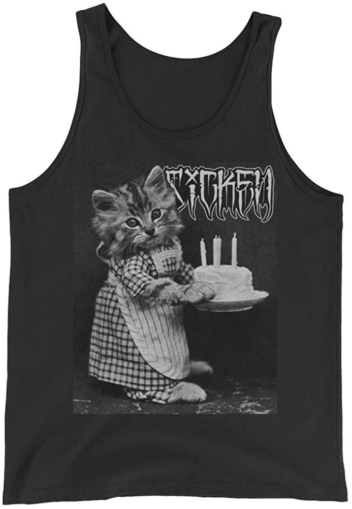 Sicken Clothing Happy Birthday Men's Tank with Funny Cat Black