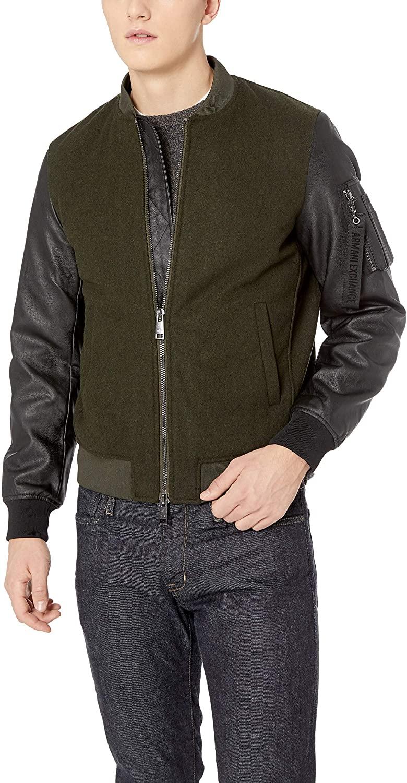 A|X Armani Exchange Men's Mixed Fabric Bomber Jacket, peat