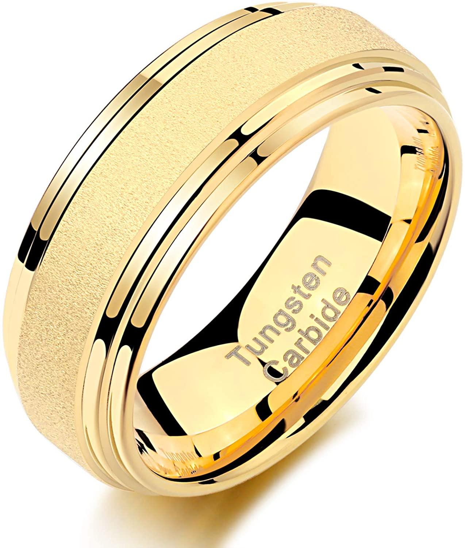 Wuziwen Yellow Gold Tungsten Rings for Men Wedding Band Sandblasted Finished Beveled Edge Size 9-12
