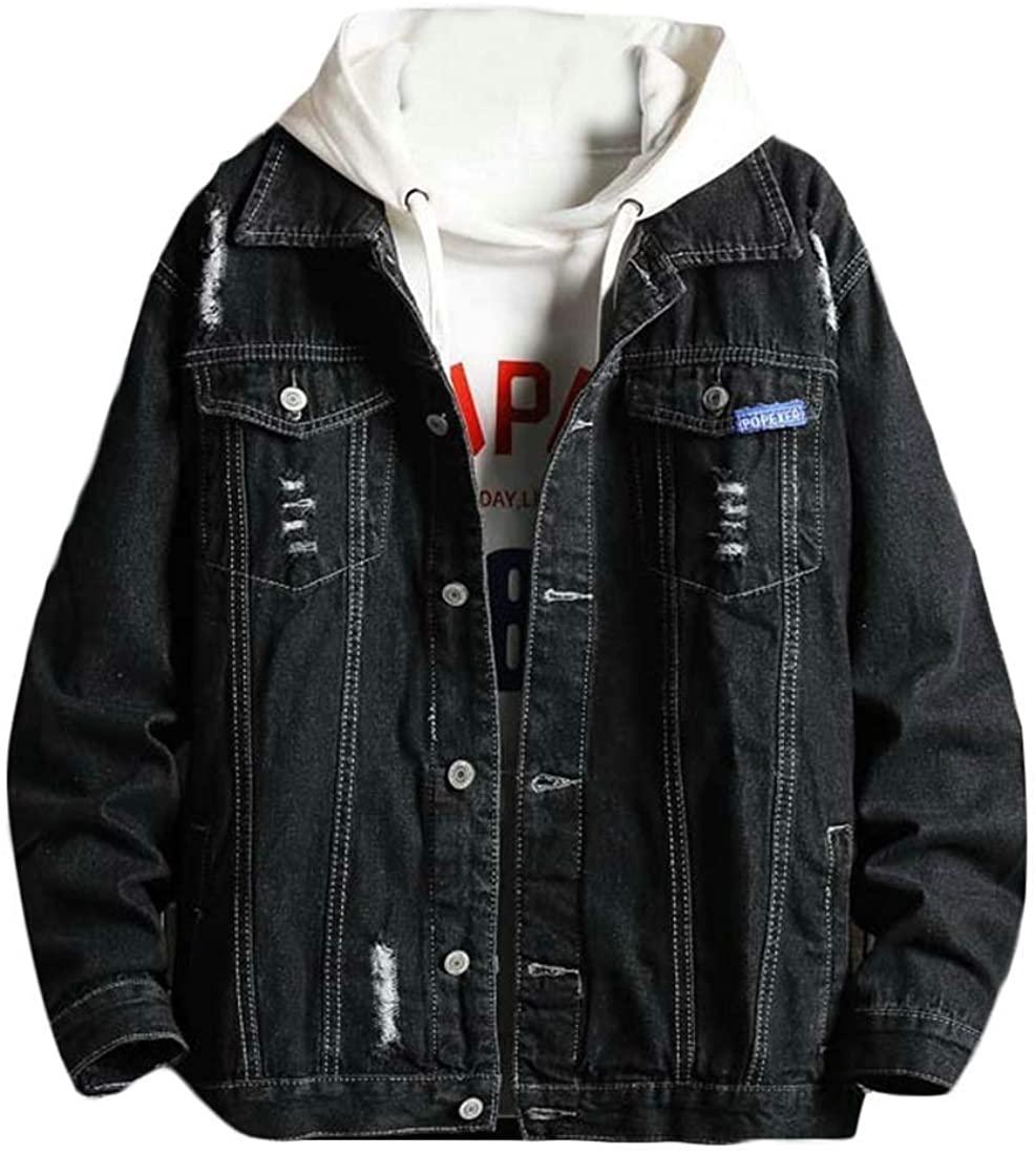 CRYYU Men's Classic Ripped Holes Washed Denim Jacket Jean Coat