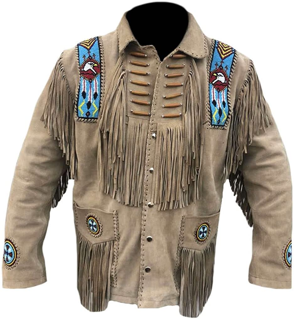 Classyak Men's Western Fringed & Bone Eagle Beaded Suede Leather Jacket
