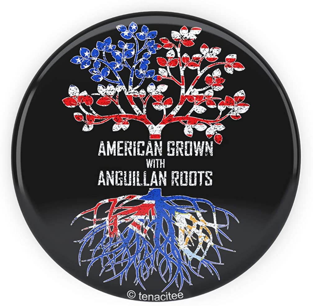 Tenacitee American Grown with Anguillan Roots Pinback Button