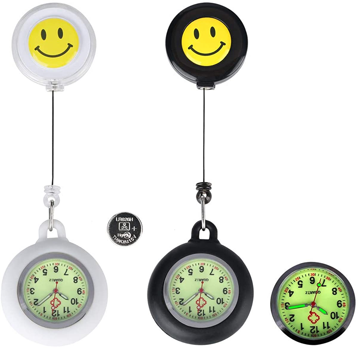 Nurse Fob Watch for Nurses Doctors,Clip On Luminous Retractable Glow in Dark Paramedic Unisex Digital Pocket Watches with Extra Battery,Medical Silicone Case,Men Women Present