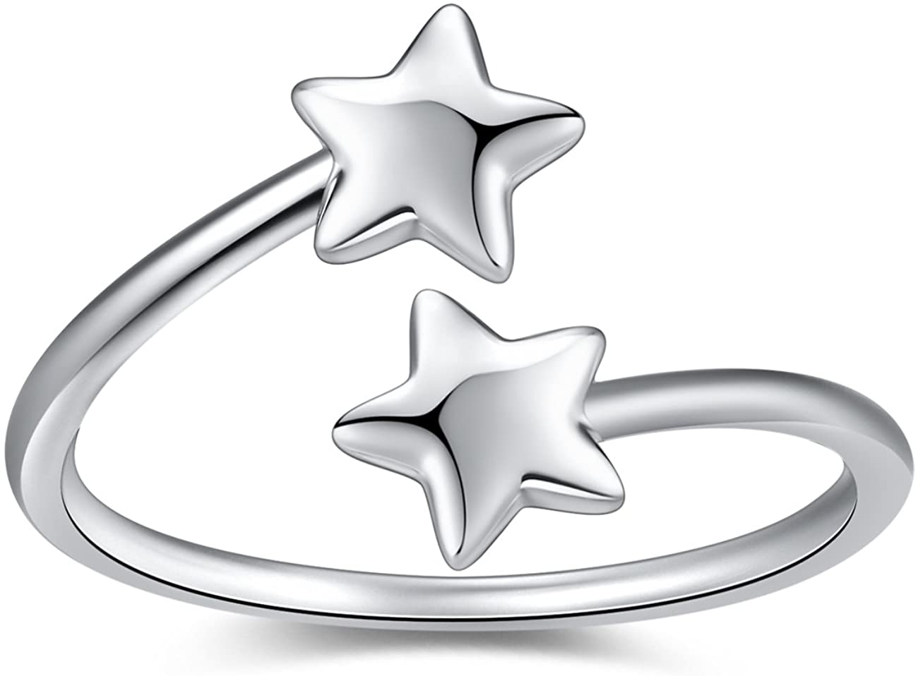 VG Studio Double Cute Five Pointed Star Adjustable Open Rings, Silver Plated
