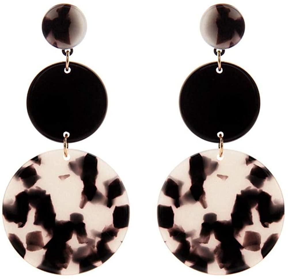 Women Statement Earrings Circle Acrylic Large Disc Earrings for Girl