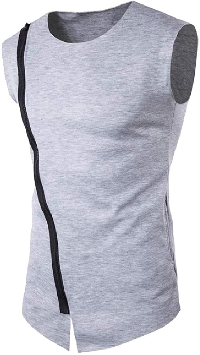 Zimaes Mens Slim Fitted Oblique Placket Zip Up Vests Casual Loose Jersey Tank Tops Light Grey XL