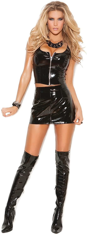 Womens Zip Front Sleeveless Vinyl Top Black