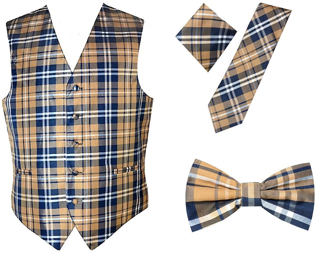 4pc Plaid Design Dress Vest Necktie Bowtie Handkerchief Set