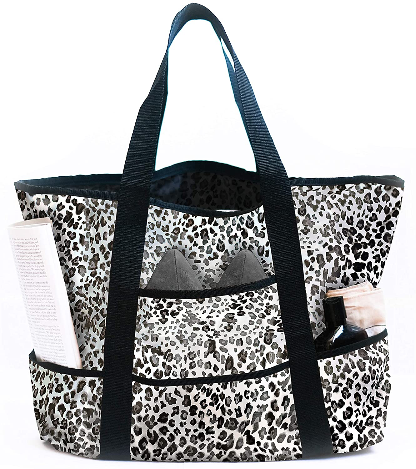 Dejaroo Water-Resistant Weekend Overnight Bag - Beach/Toy Tote Bag - Large Lightweight Market, Grocery & Picnic Tote with Oversized Pockets (White Leopard)