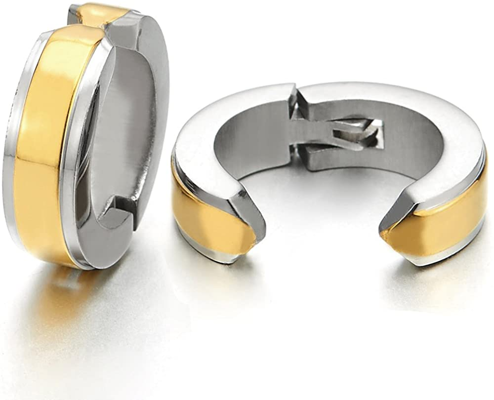 2pcs Steel Huggie Hinged Hoop Earrings Non-Piercing Clip On Earrings Unisex Men Women