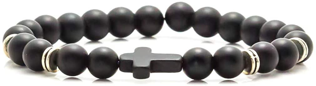 Xusamss Fashion Christian Cross Bangle 8MM Onyx Beads Bracelet,7 1/2 Wrist