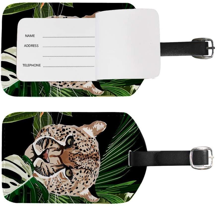 J.COXLOD 2 Pieces Leopard PU Leatherette Luggage Tags Travel Essentials Bag Case Label with Strap for Women&Men