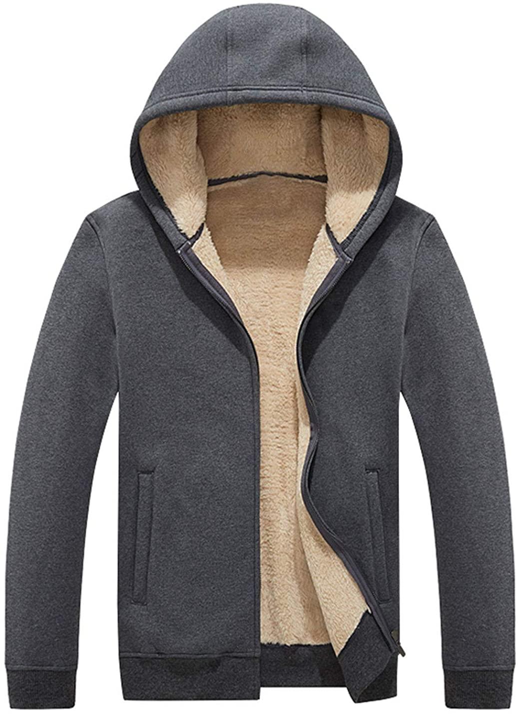 Flygo Men's Casual Wimter Thicken Lamb Cashmere Fleece Sherpa Lined Full-Zip Hoodies Sweatshirt Jackets Outerwear