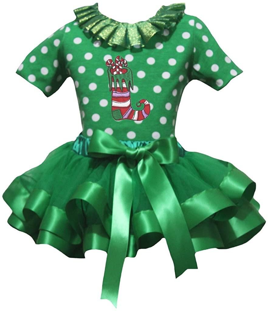 Petitebella Xmas Sock Green White Polka Dots S/s Shirt Petal Skirt Ribbon Nb-8y