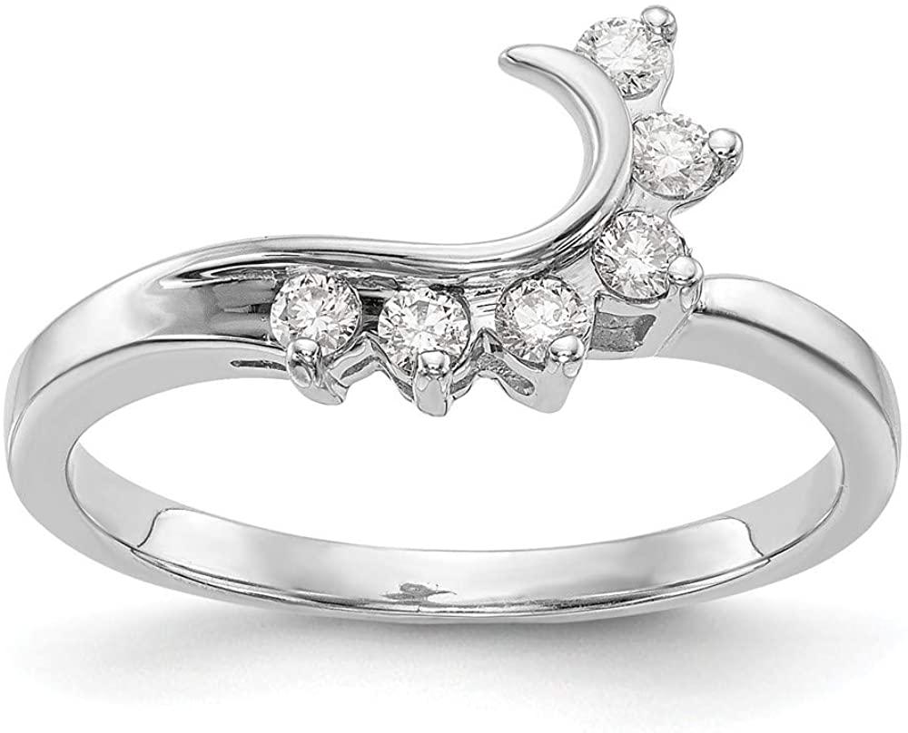 14K White Gold Ring Band Lab Grown Diamond SI1 SI2, G H I, Wrap, Size 8