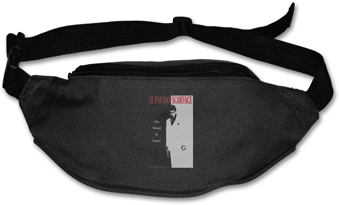 Hwxzviodfjg Scarface The World is Yours Adjustable Running Belt Waist Pack Belt Fanny Pack Black