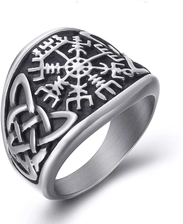 Elfasio Men Stainless Steel Rings Viking Valknut Vegvisir Pirate Compass Norse Symbol Vintage Jewelry Size 8-13